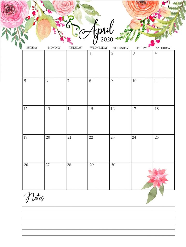 April 2020 Cute Calendar