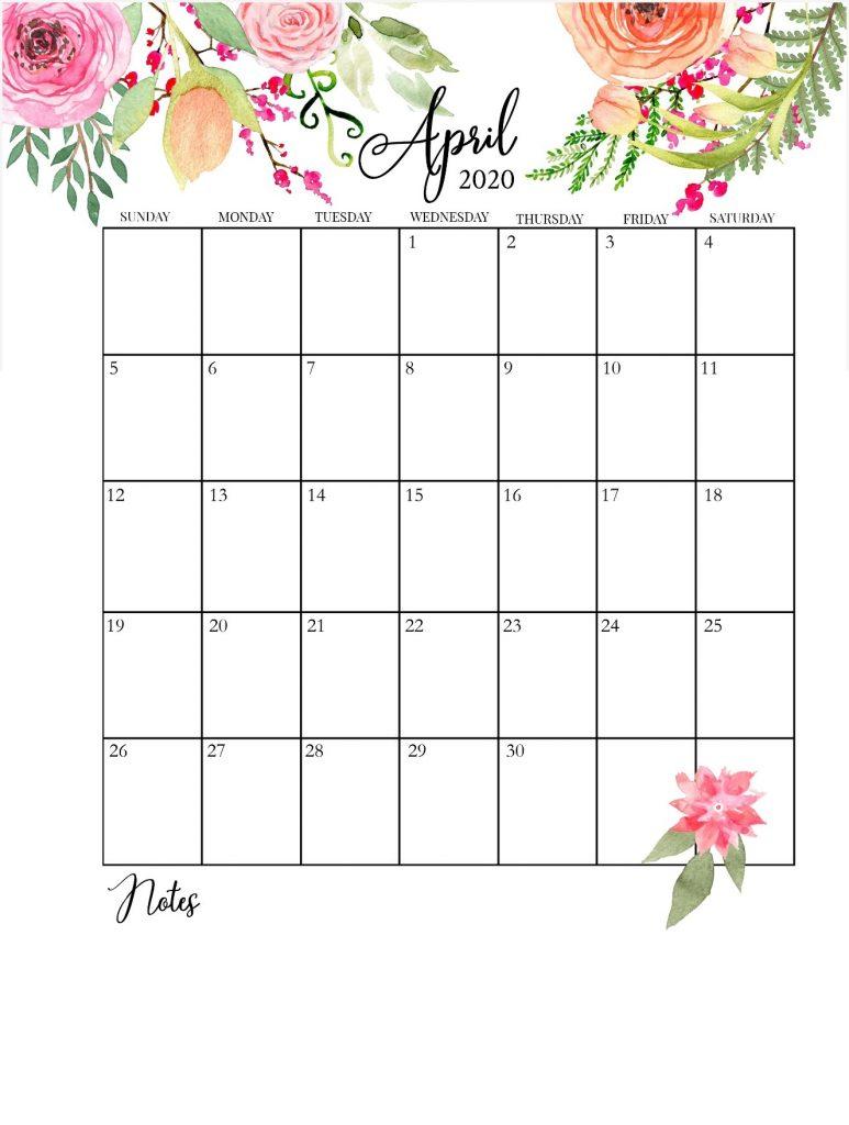 April 2020 Floral Calendar