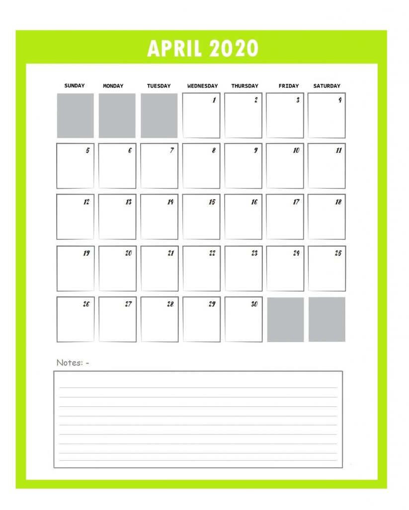 Beautiful April 2020 Calendar