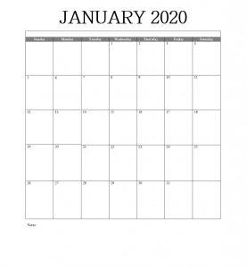 Blank January 2020 Calendar Word