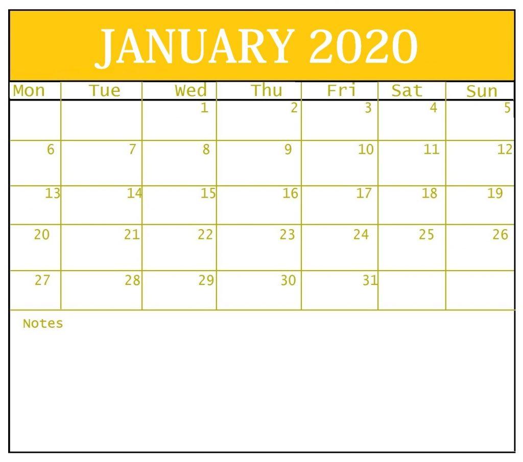 Blank January 2020 Template Calendar