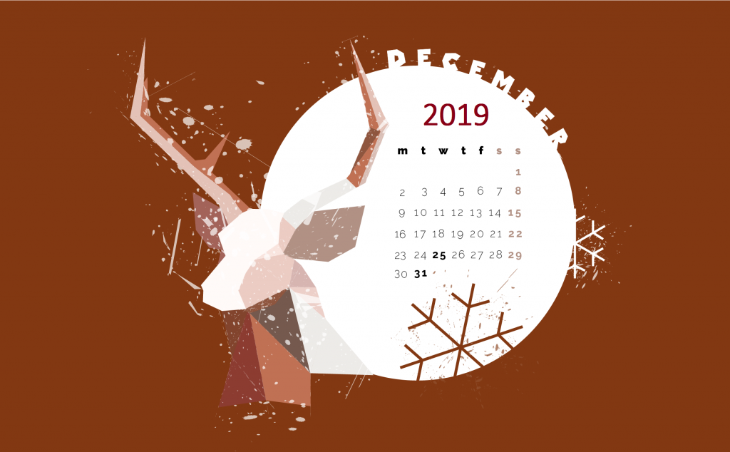 December 2019 Desktop Screensaver Wallpaper