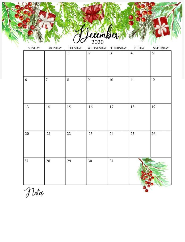December 2020 Floral Calendar