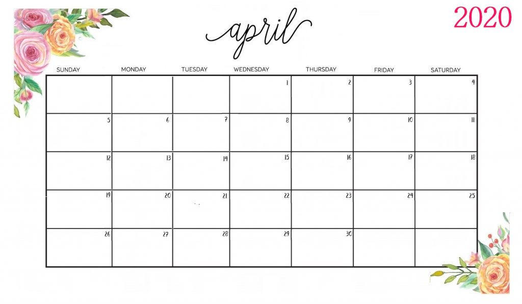 Decorative April 2020 Calendar