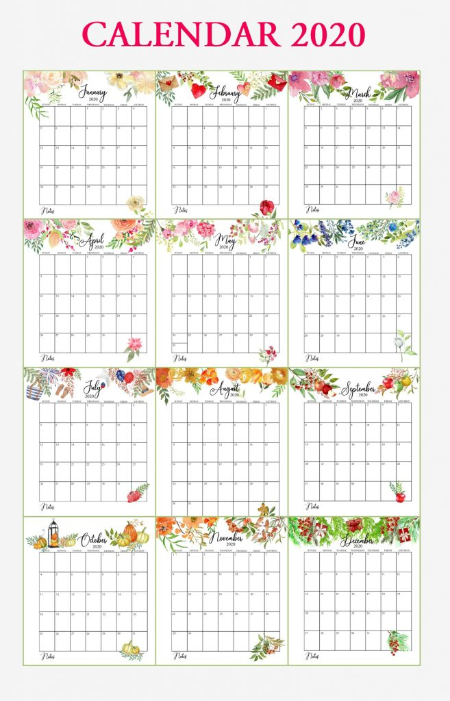 Floral 2020 Yearly Calendar