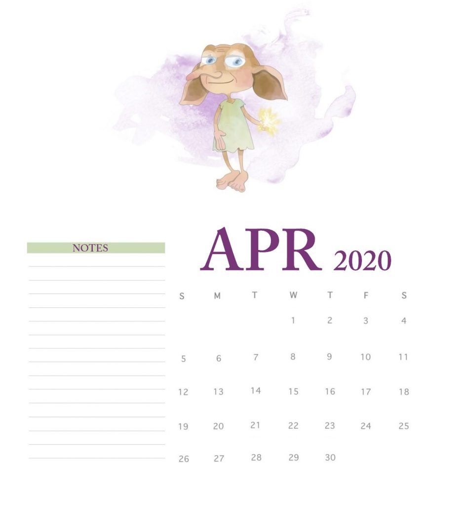 Harry Potter April 2020 Calendar
