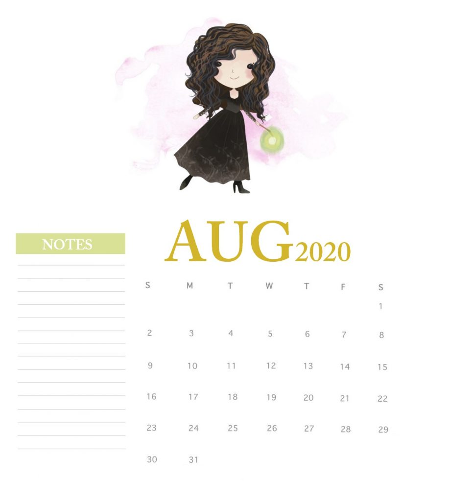 Harry Potter August 2020 Calendar