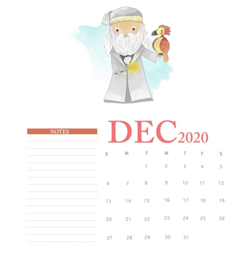 Harry Potter December 2020 Calendar