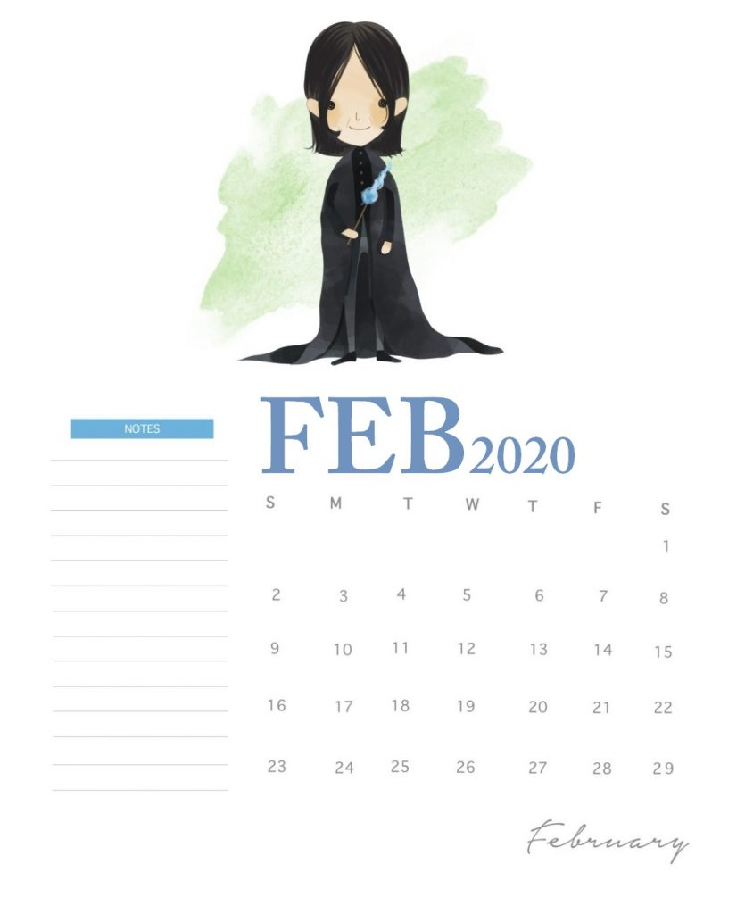 Harry Potter February 2020 Calendar