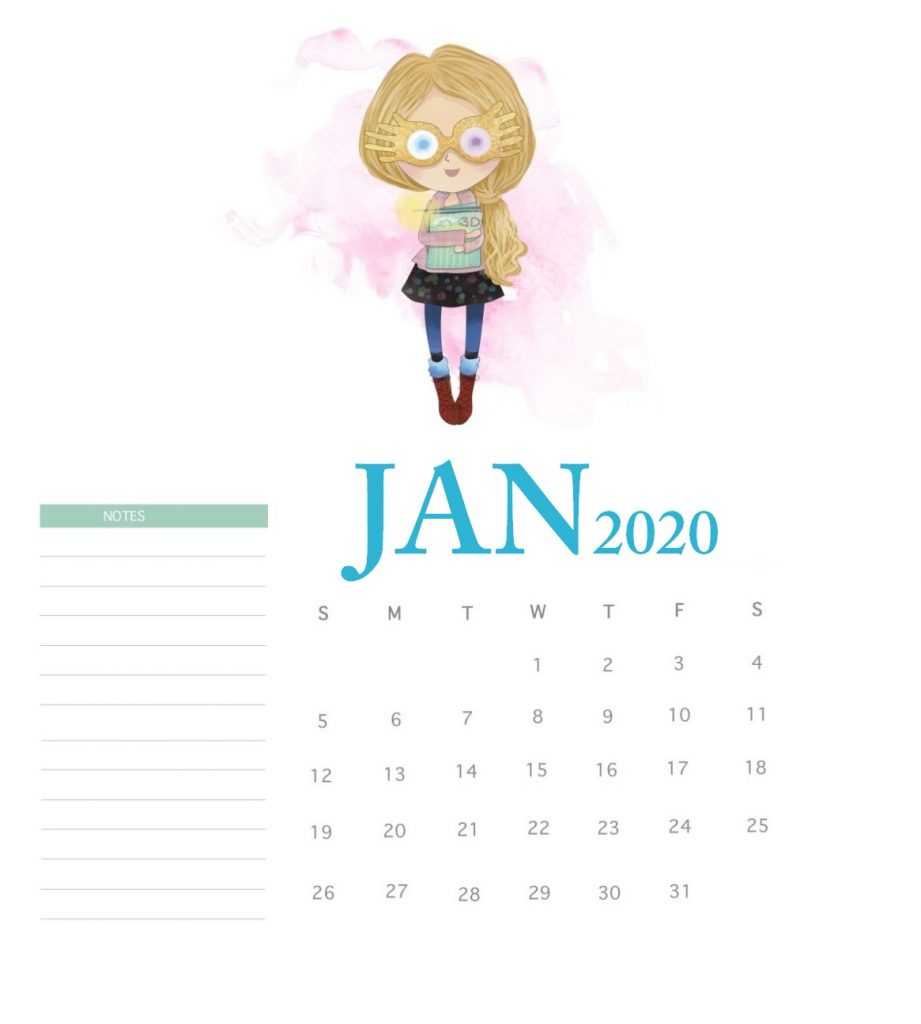 Harry Potter January 2020 Calendar