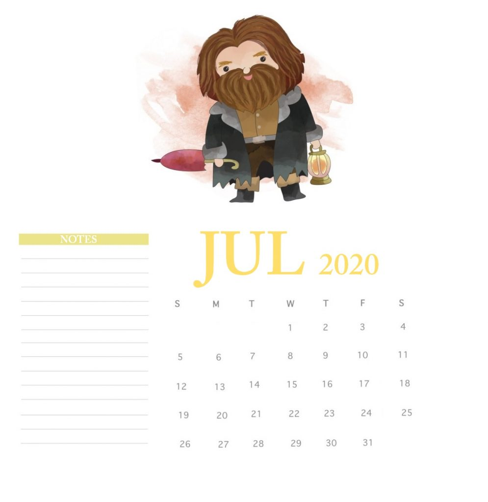 Harry Potter July 2020 Calendar