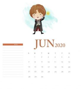 Harry Potter June 2020 Calendar