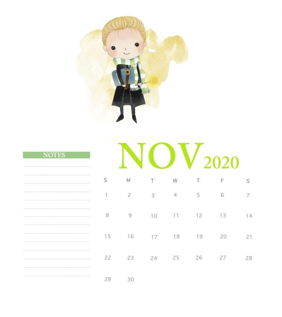 Harry Potter November 2020 Calendar