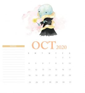 Harry Potter October 2020 Calendar