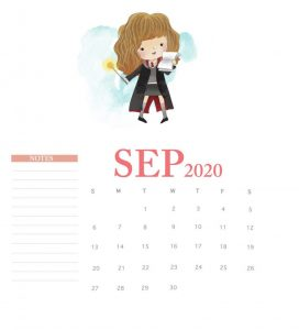 Harry Potter September 2020 Calendar