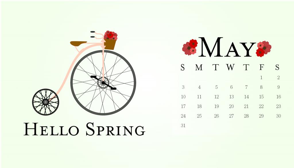 Hello Spring May 2020 Calendar Wallpaper