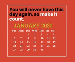 Inspirational January 2020 Quotes Calendar