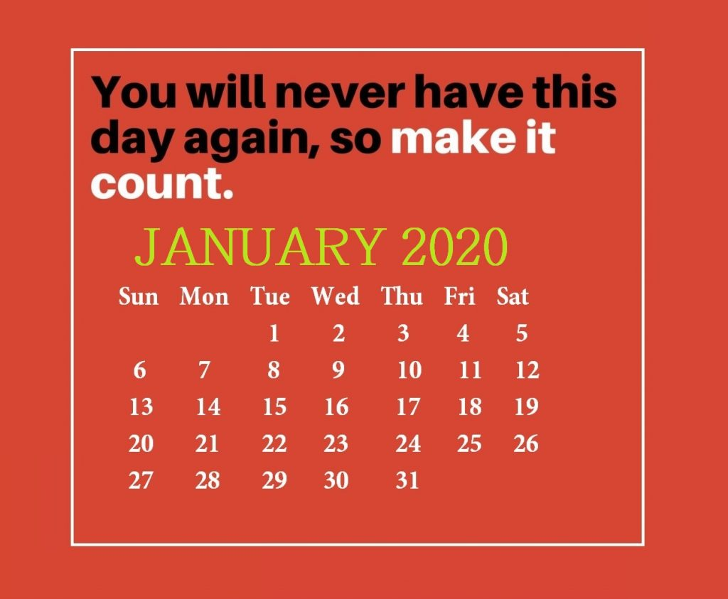 Inspirational January 2020 Quotes Calendar