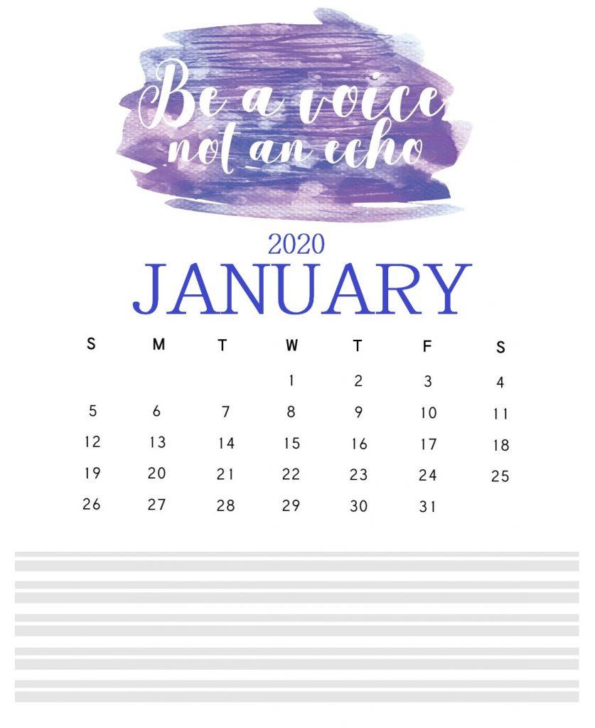 Inspiring January 2020 Quotes Calendar
