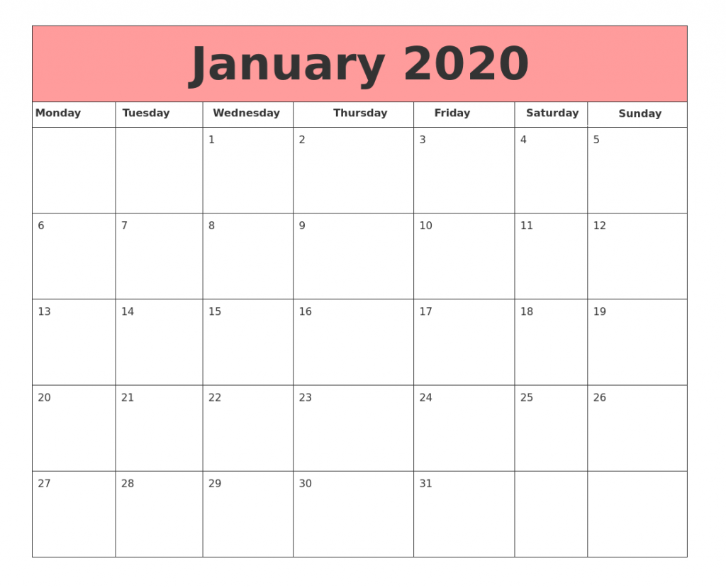 January 2020 Blank Calendar For Desk