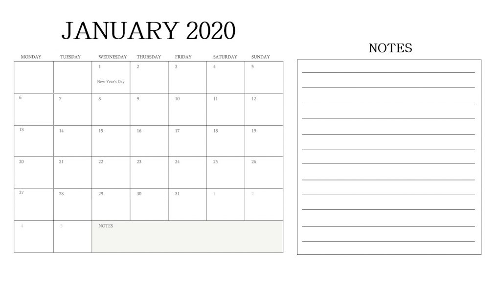 January 2020 Blank Calendar With Notes