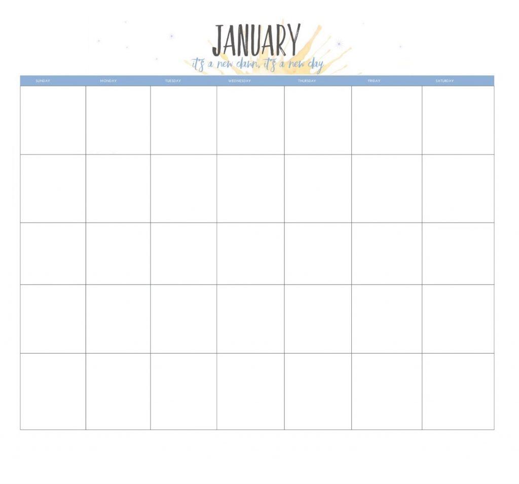 January 2020 Blank Excel Calendar