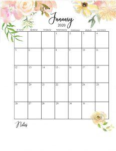 January 2020 Floral Calendar