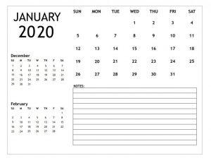 January 2020 Personalized Blank Calendar