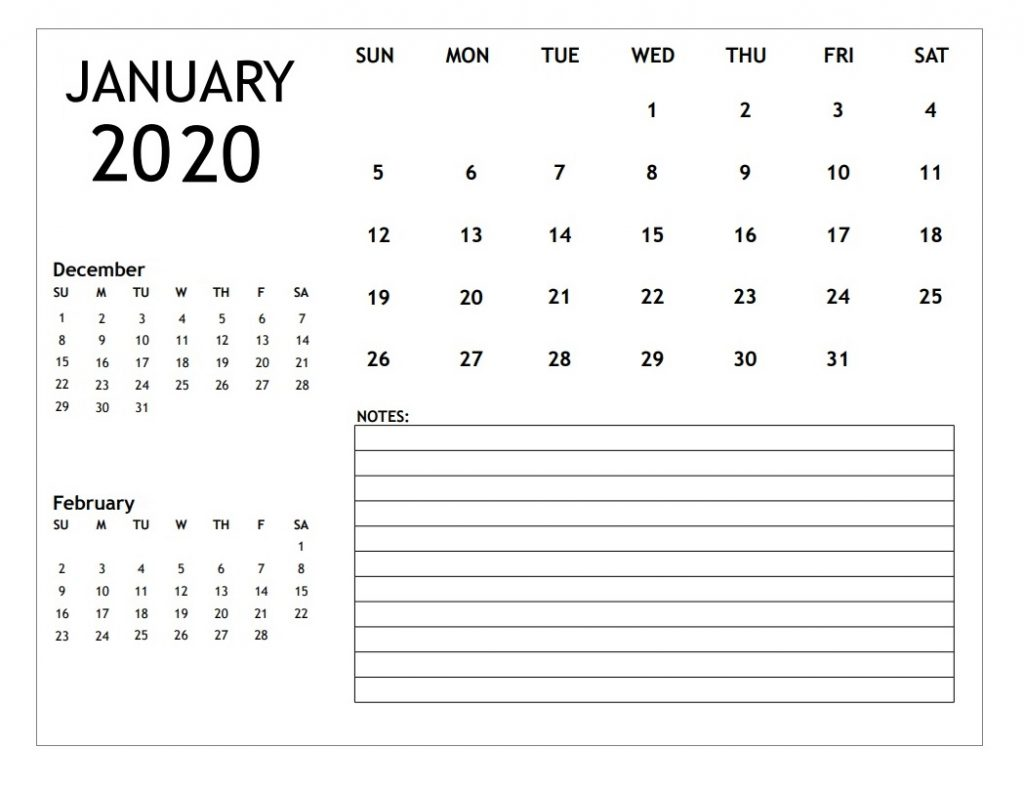 January 2020 Personalized Blank Calendar