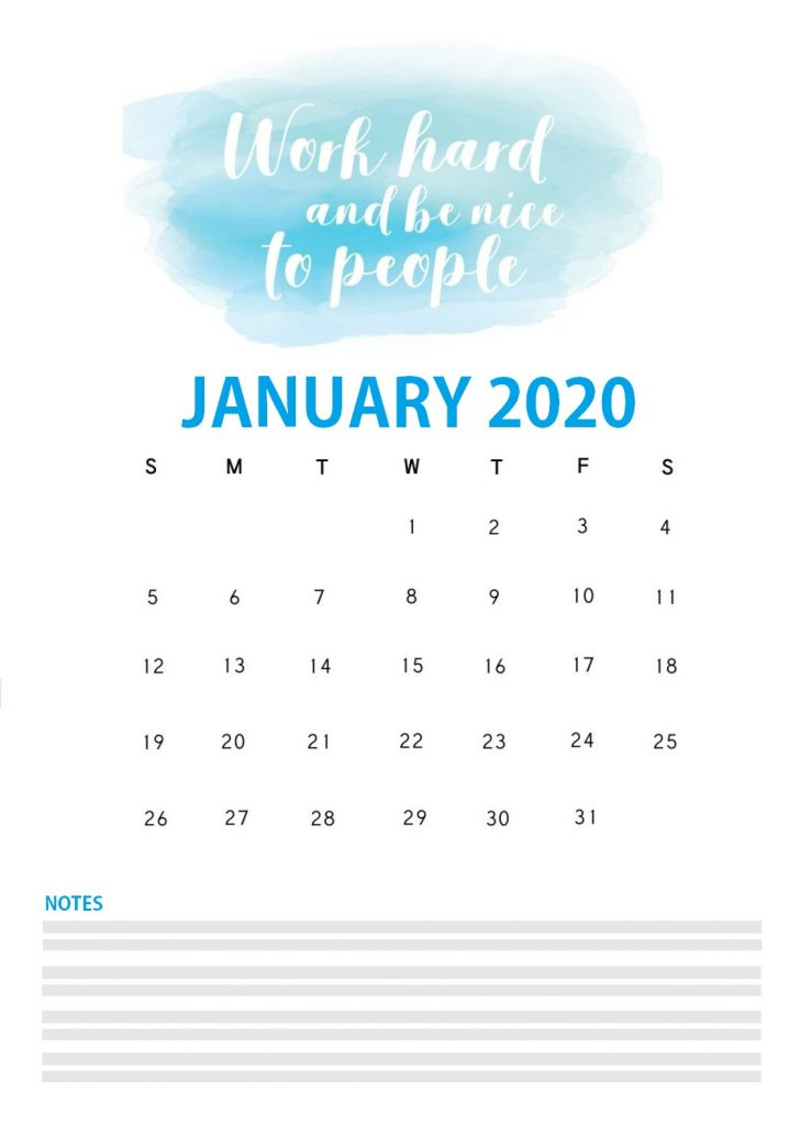 January 2020 Quotes Calendar