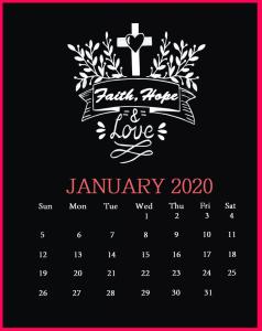 January 2020 Saying Lines Calendar