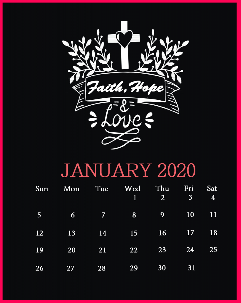 January 2020 Saying Lines Calendar