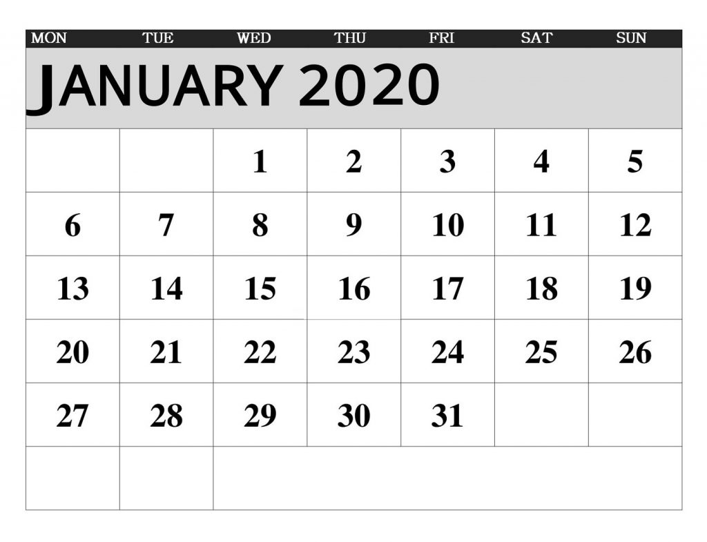 January 2020 Weekly Planner