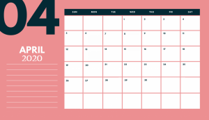 Latest April 2020 Calendar Template