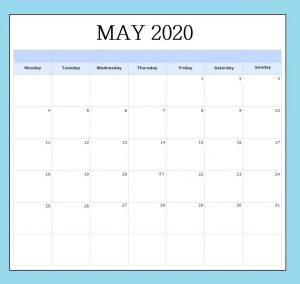 May 2020 Blank Calendar Template