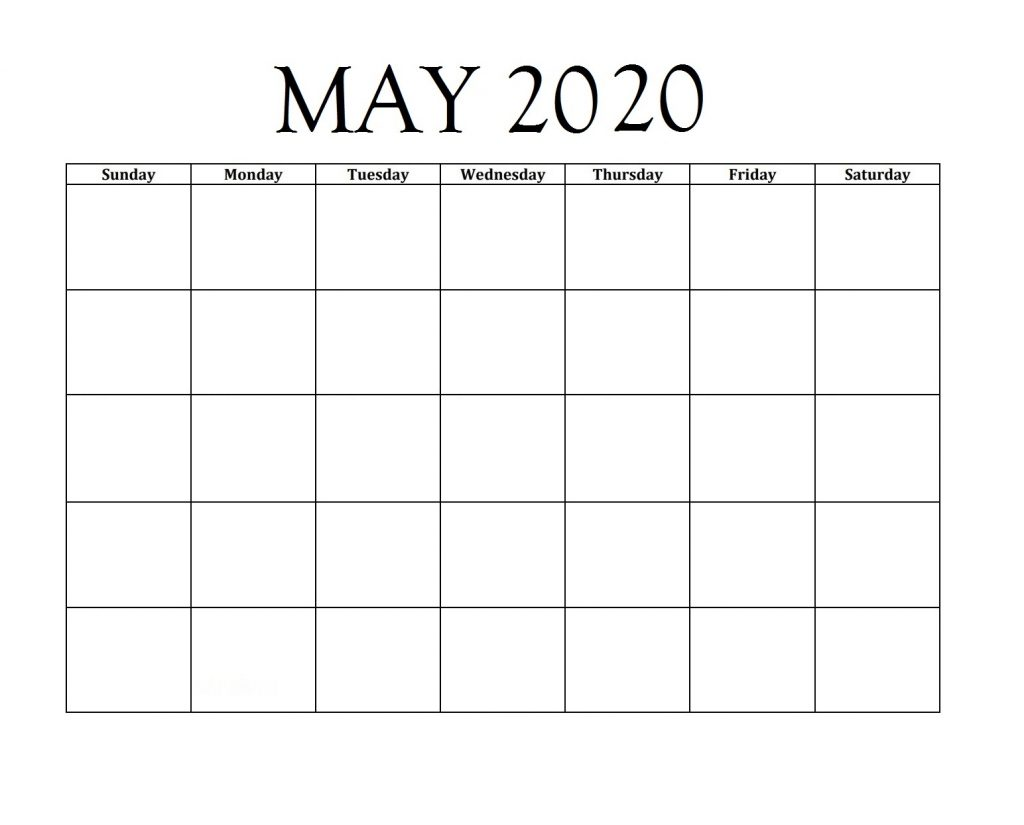 May 2020 Blank Planner