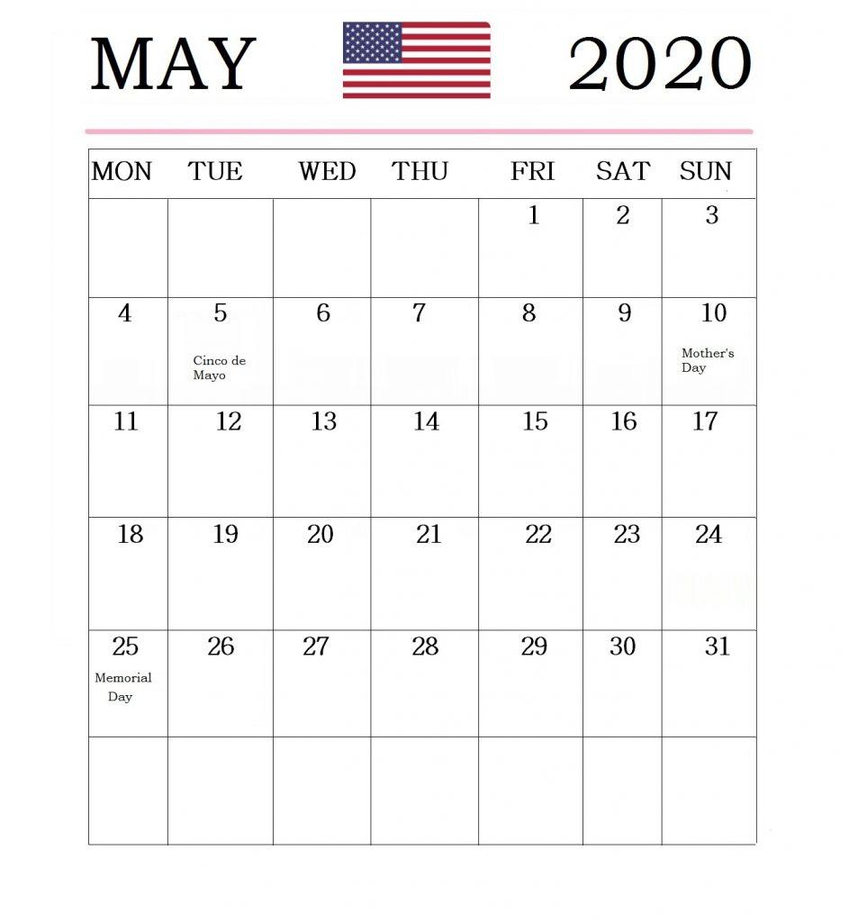 May 2020 Holidays Calendar