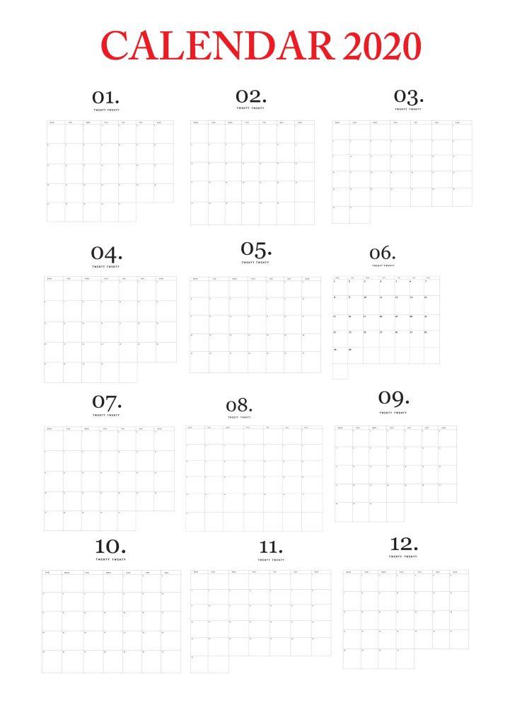 Modern Minimal 2020 Printable Calendar