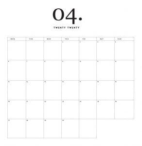 Modern Minimal April 2020 Calendar
