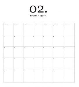 Modern Minimal February 2020 Calendar