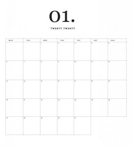 Modern Minimal January 2020 Calendar