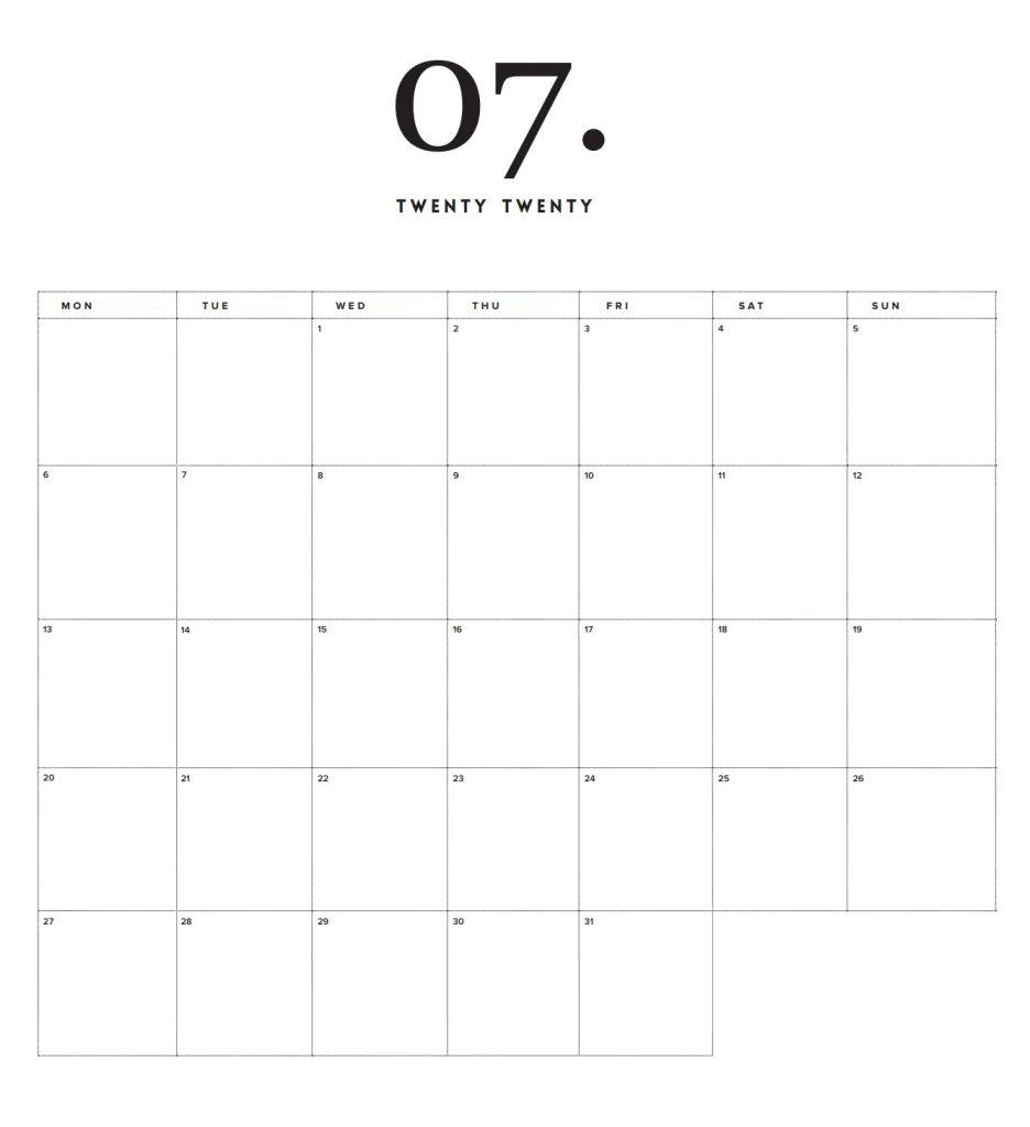 Modern Minimal July 2020 Calendar