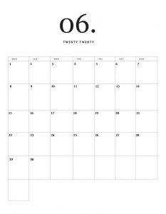 Modern Minimal June 2020 Calendar