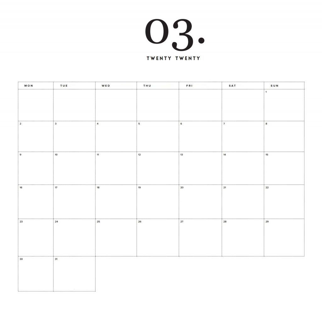 Modern Minimal March 2020 Calendar
