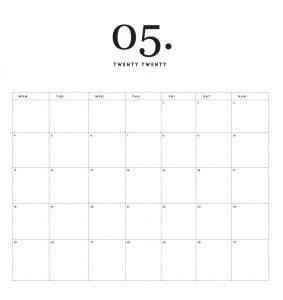 Modern Minimal May 2020 Calendar