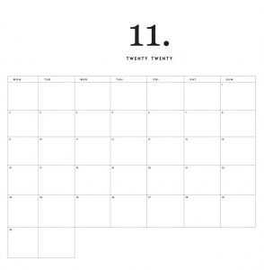 Modern Minimal November 2020 Calendar