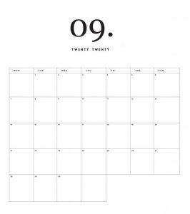Modern Minimal September 2020 Calendar