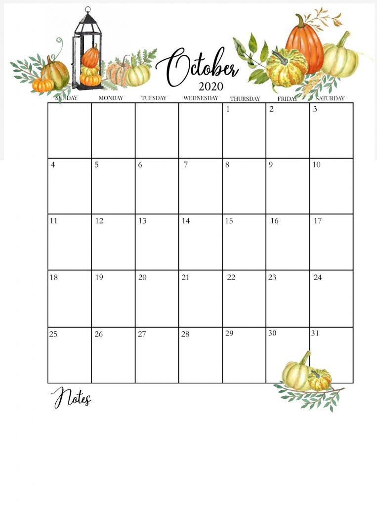 October 2020 Floral Calendar