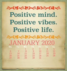Positive January 2020 Quotes Calendar