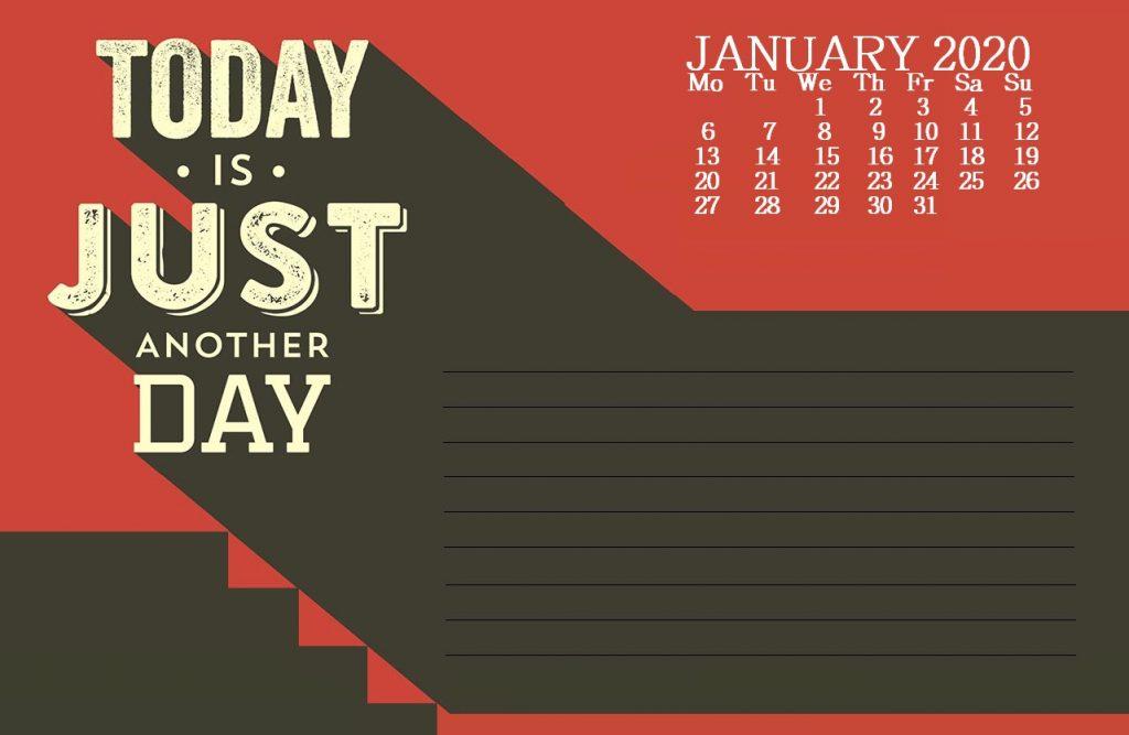 Print January 2020 Quotes Calendar